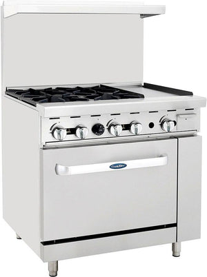 "Atosa ATO-4B12G Commercial Gas Range with 4 Burners, 12"" Griddle, 26.5"" Wide Oven - Summit Restaurant Supply"