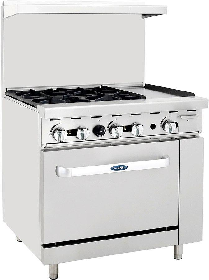 "Atosa ATO-4B12G Commercial Gas Range with 4 Burners, 12"" Griddle, 26.5"" Wide Oven"