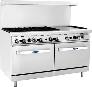 "Atosa ATO-6B24G 60"" Commercial Gas Range w/ 6 Burners, 24"" Griddle, (2) 26.5 Ovens"