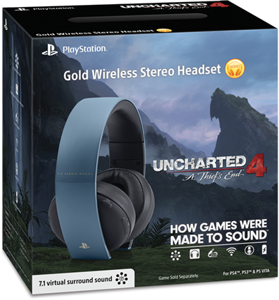 Gold Wireless Stereo Headset Uncharted 4 - SONY