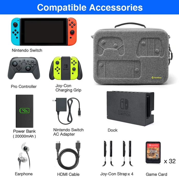 Tomtoc Storage Case for Nintendo Switch - (Gray)