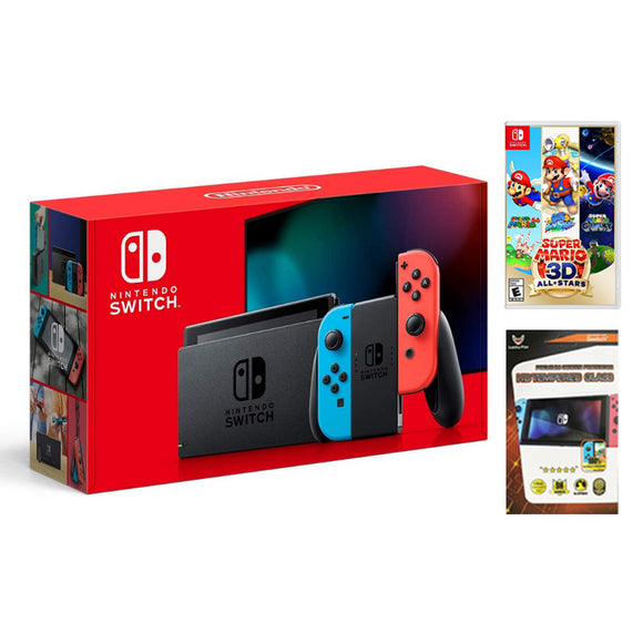 Nintendo Switch Neon Blue Red V2 with Nintendo Switch Super Mario 3D All-Star (MDE)