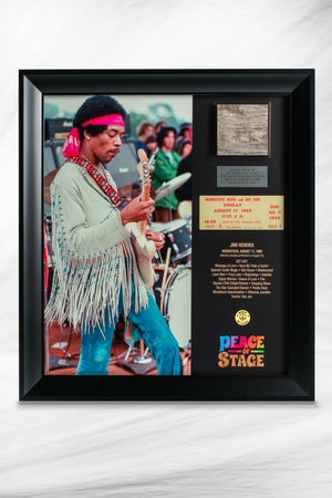 Limited Edition Jimi Hendrix Frame with Piece of 1969 Woodstock Stage and Original Ticket