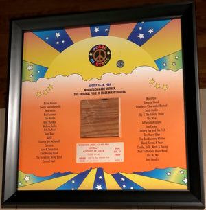 Stage Made Legends Frame With Piece of 1969 Woodstock Stage and Original Ticket