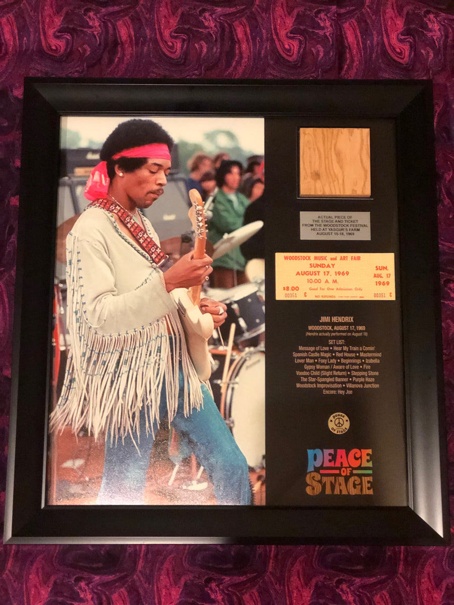 Limited Edition Jimi Hendrix Frame with Piece of 1969 Woodstock Stage and Original Ticket - The Stage - Peace Of Stage LLC - Peace Of Woodstock Stage