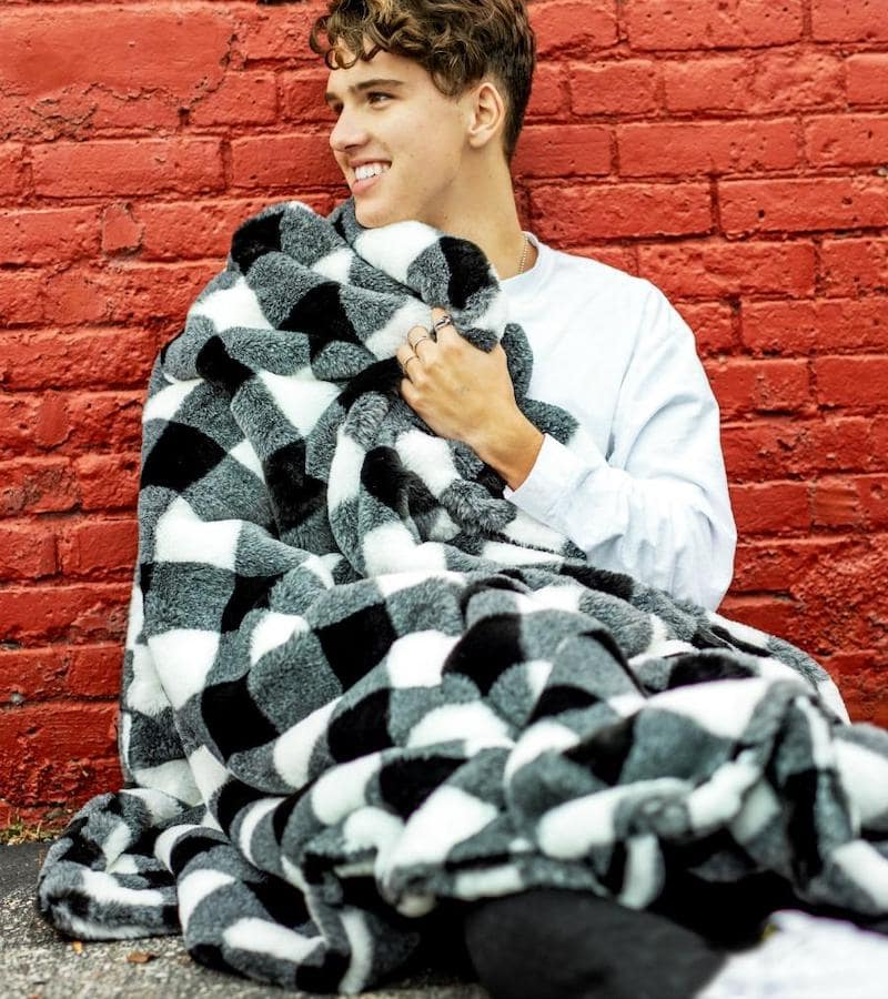 Black and white buffalo check Minky blanket
