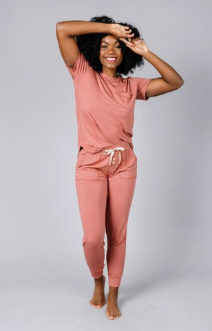 Woman in Lates by Kate Loungewear brand.