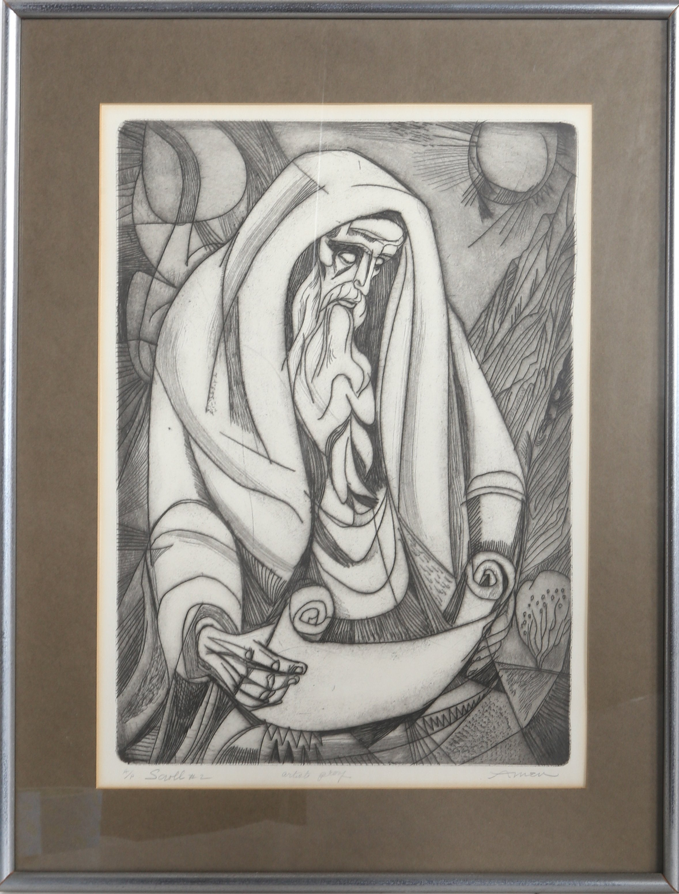 Irving Amen, Scroll No. 2 Etching - RoGallery