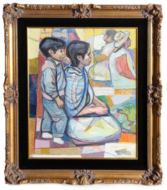Irving Amen, Seated Mother and Son Oil - RoGallery
