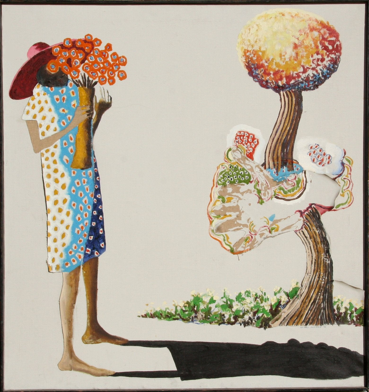 Benny Andrews, Woman with Flowers Oil - RoGallery