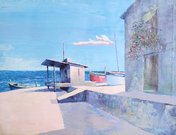 Bassari, Seaside Beach Home with Rowboats Oil - RoGallery