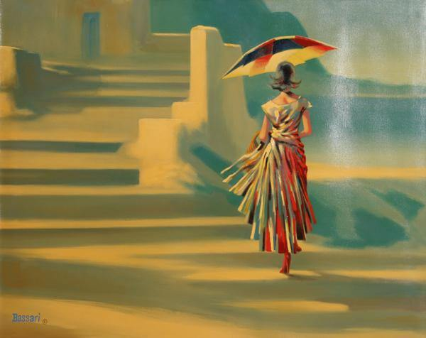 Bassari, Woman With Umbrella Oil - RoGallery