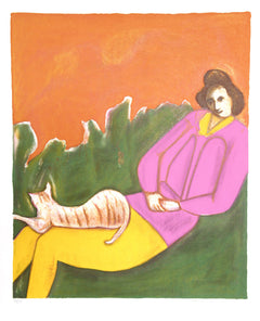 Harold Baumbach, Woman and Cat Lithograph - RoGallery