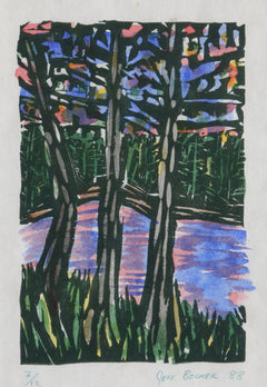 Jeff Becker, Trees and Stream Lithograph - RoGallery