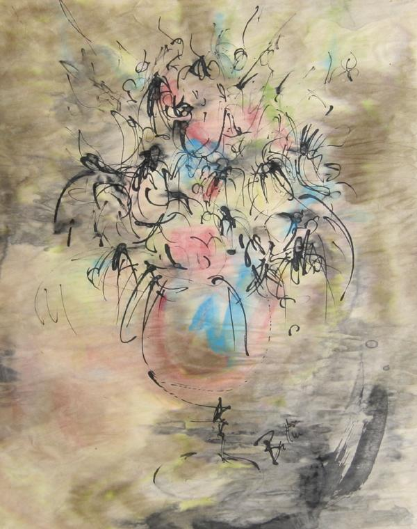 Bettin, Untitled - Vase of Flowers Watercolor - RoGallery