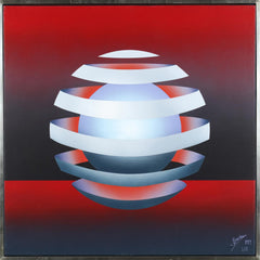 Patrice Breteau, Untitled - Floating Orb on Red Acrylic - RoGallery