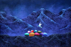 Gonzalo Endara Crow, Sin Titulo - Hummingbird and Colored Eggs Acrylic - RoGallery