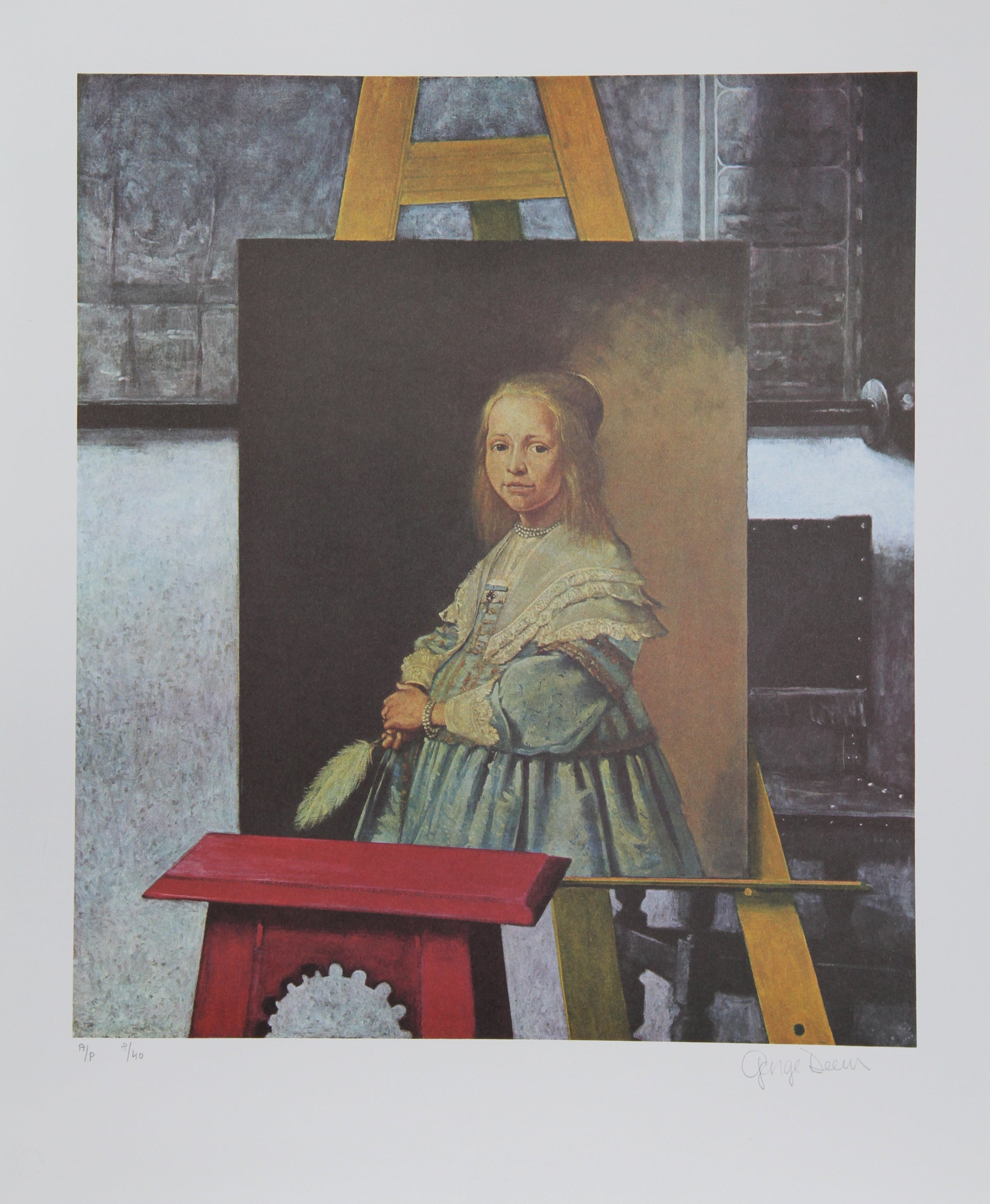 George Deem, A Dutch Portrait in Vermeer's Easel Lithograph - RoGallery