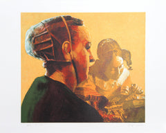 George Deem, Woman in Green with Vermeer's Lacemaker Lithograph - RoGallery