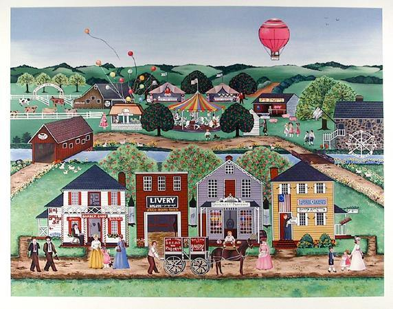 Delcroy, Village with Carousel Lithograph - RoGallery