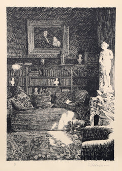 Roland Descombes, The Library Lithograph - RoGallery