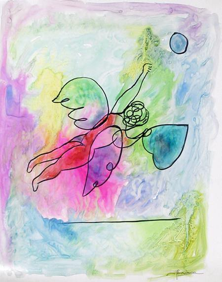 Avi Farin, Angel with Heart I Watercolor - RoGallery