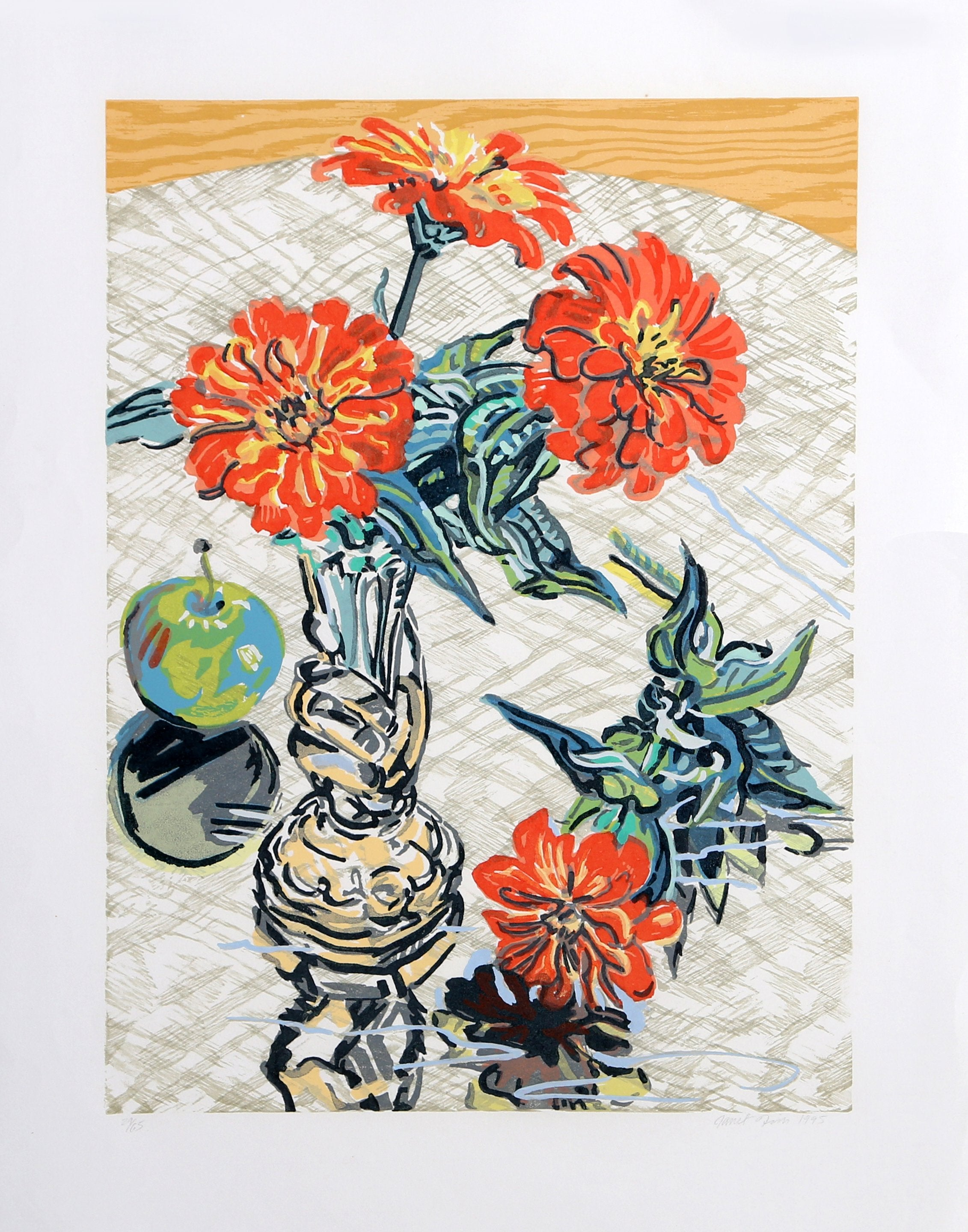 Janet Fish, Apples and Zinnias Woodcut - RoGallery