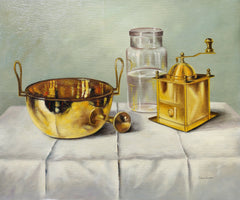 András Gombár, Brass Coffee Grinder and Bowl Still Life Oil - RoGallery