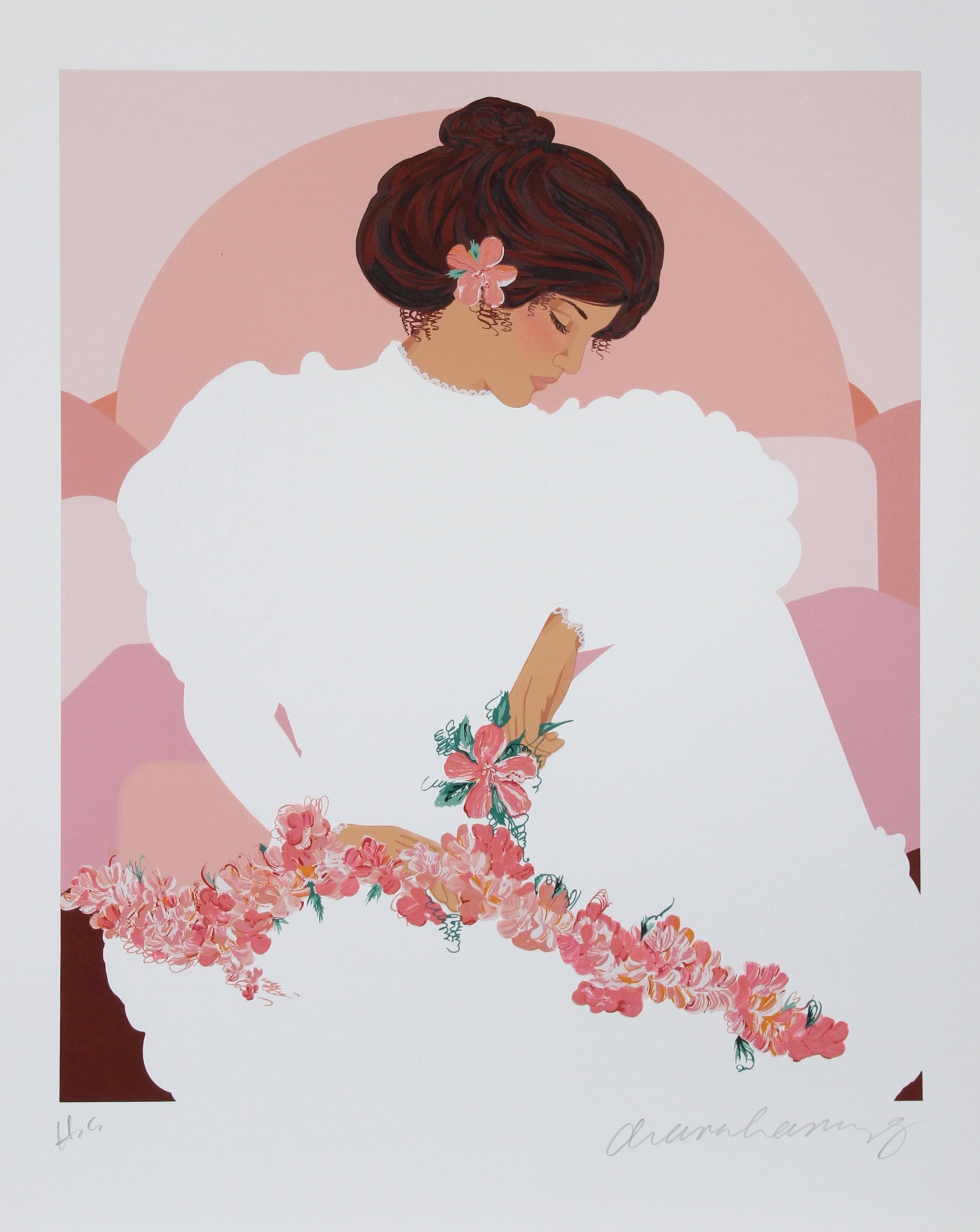 Diana Hansen-Young, Seated Halau Dancer Screenprint - RoGallery