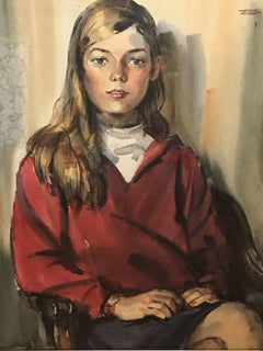 Ardis Hughes, Portrait of Young Woman Watercolor - RoGallery