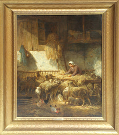Charles-Emile Jacque, Feeding Sheep Poster - RoGallery