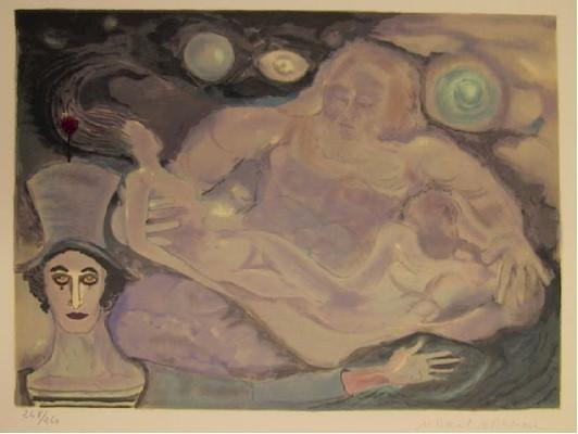 Marcel Marceau, Lovers Floating with Marcel Marceau Lithograph - RoGallery