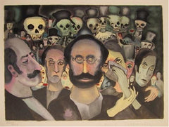 Marcel Marceau, Gathering of Sad Clowns Lithograph - RoGallery