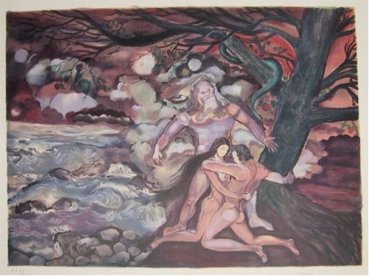 Marcel Marceau, Adam and Eve with God Lithograph - RoGallery