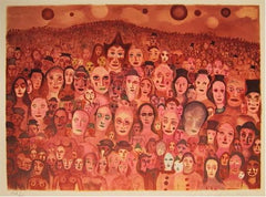 Marcel Marceau, Crowd of Clowns Lithograph - RoGallery