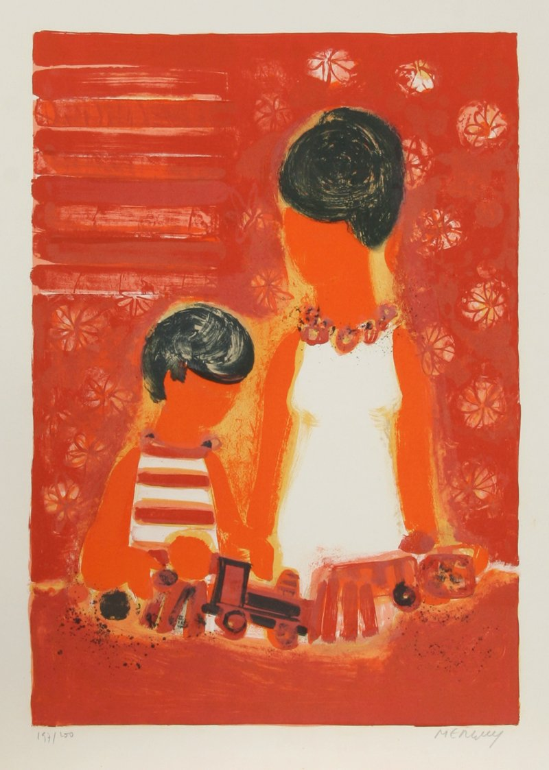 Frederic Menguy, Mother and Son with Toy Train Lithograph - RoGallery