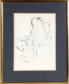August Mosca, Seated Girl in Chair Ink - RoGallery