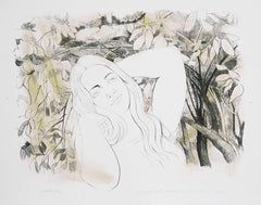 August Mosca, Young Girl with Hydrangeas Lithograph - RoGallery