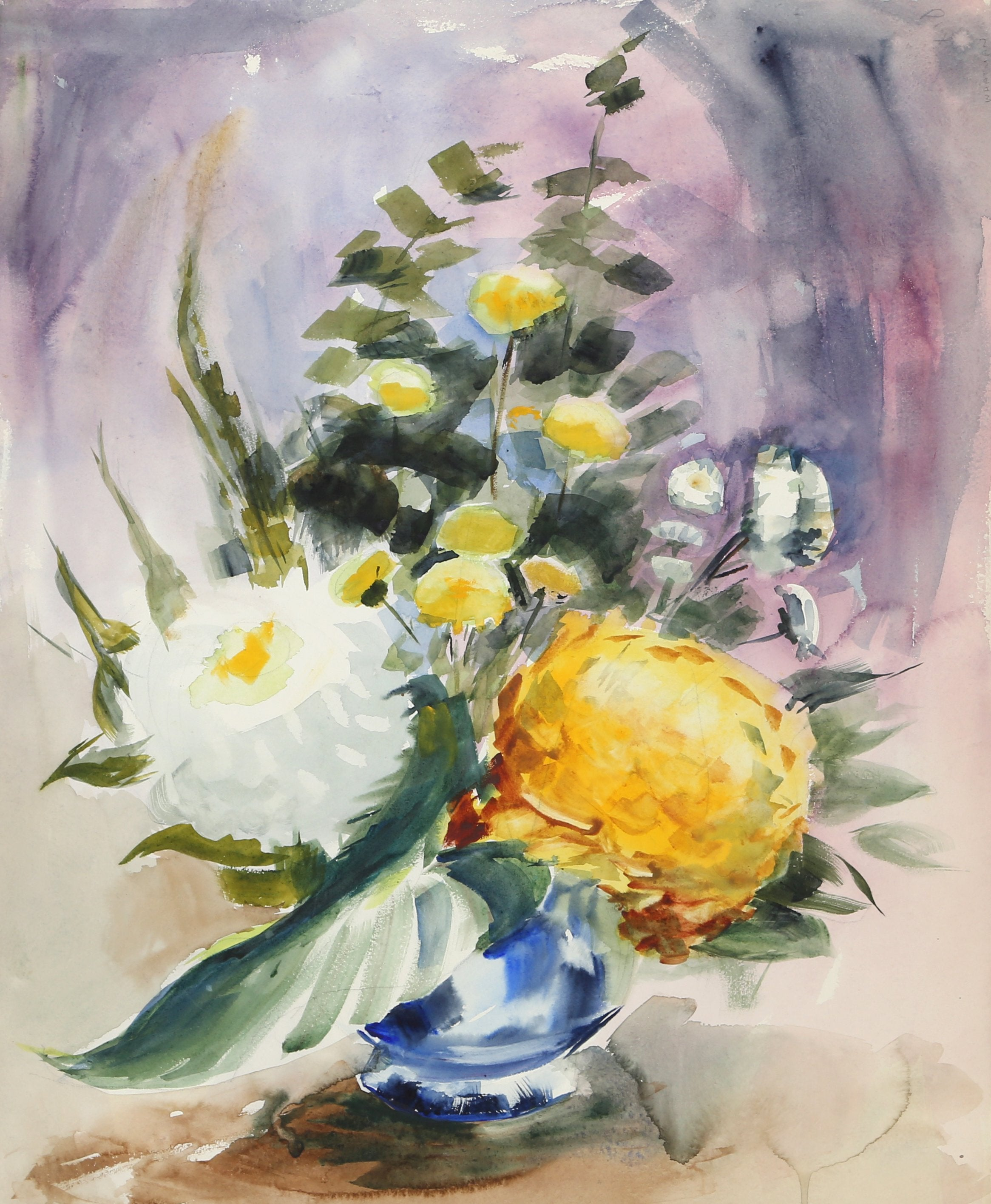 Eve Nethercott, Large Flowers in Vase (P1.34) Watercolor - RoGallery
