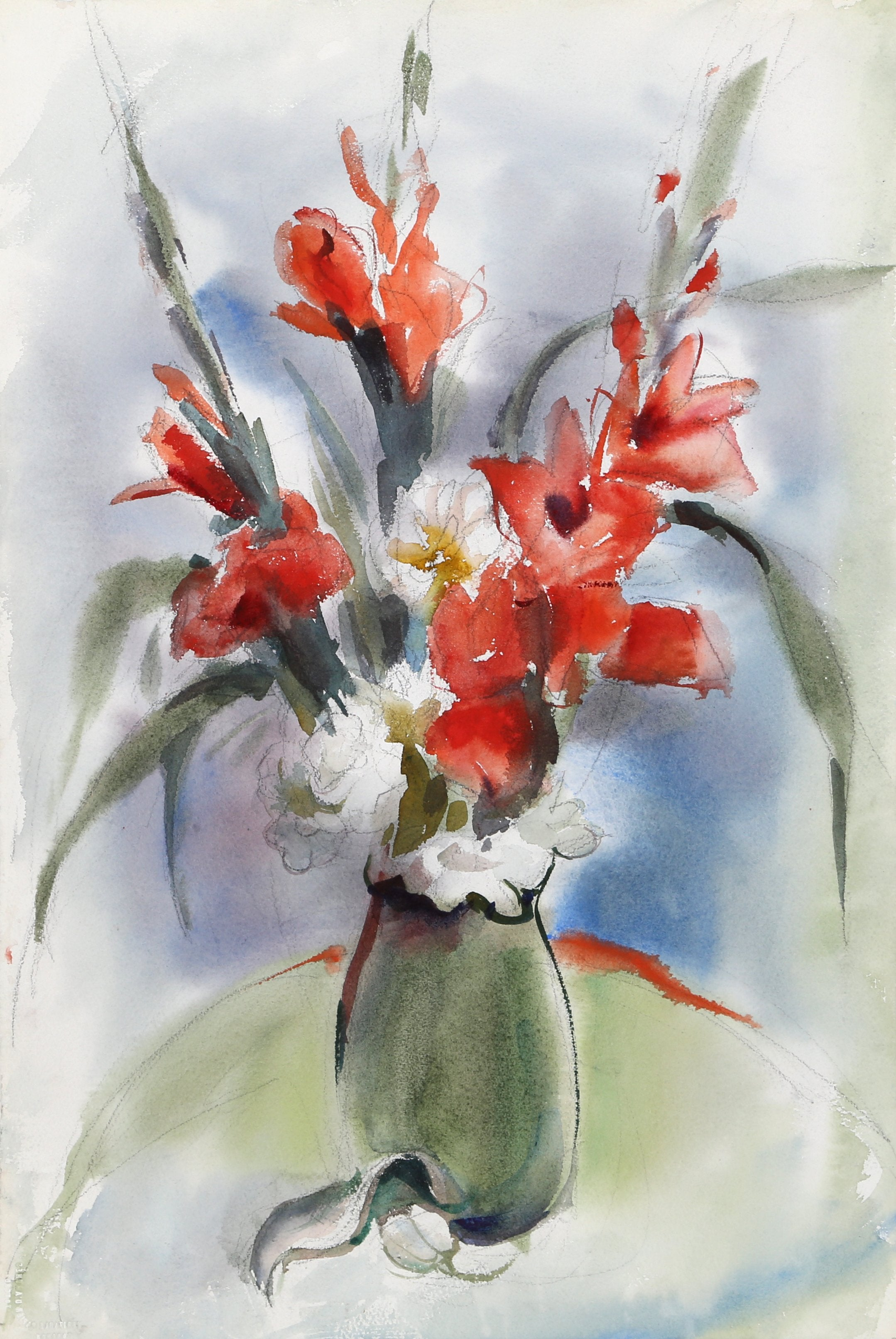 Eve Nethercott, Red Flowers in Vase (P1.9) Watercolor - RoGallery