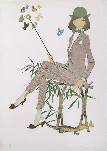 Philippe Henri Noyer, Lady in Suit with Caiman and Butterflies Lithograph - RoGallery