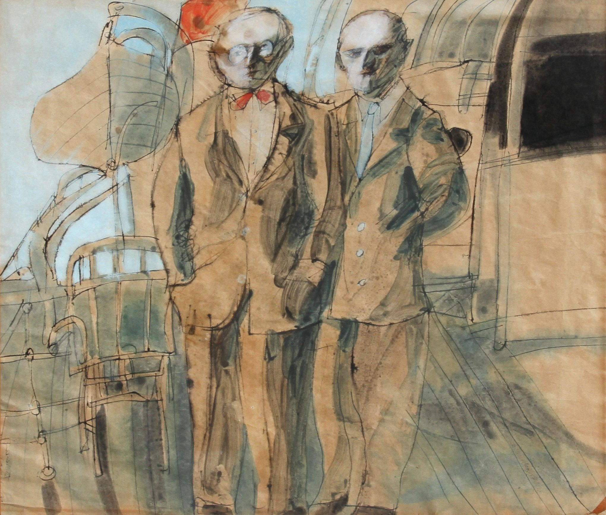 Robert Andrew Parker, Me and My Dad Watercolor - RoGallery