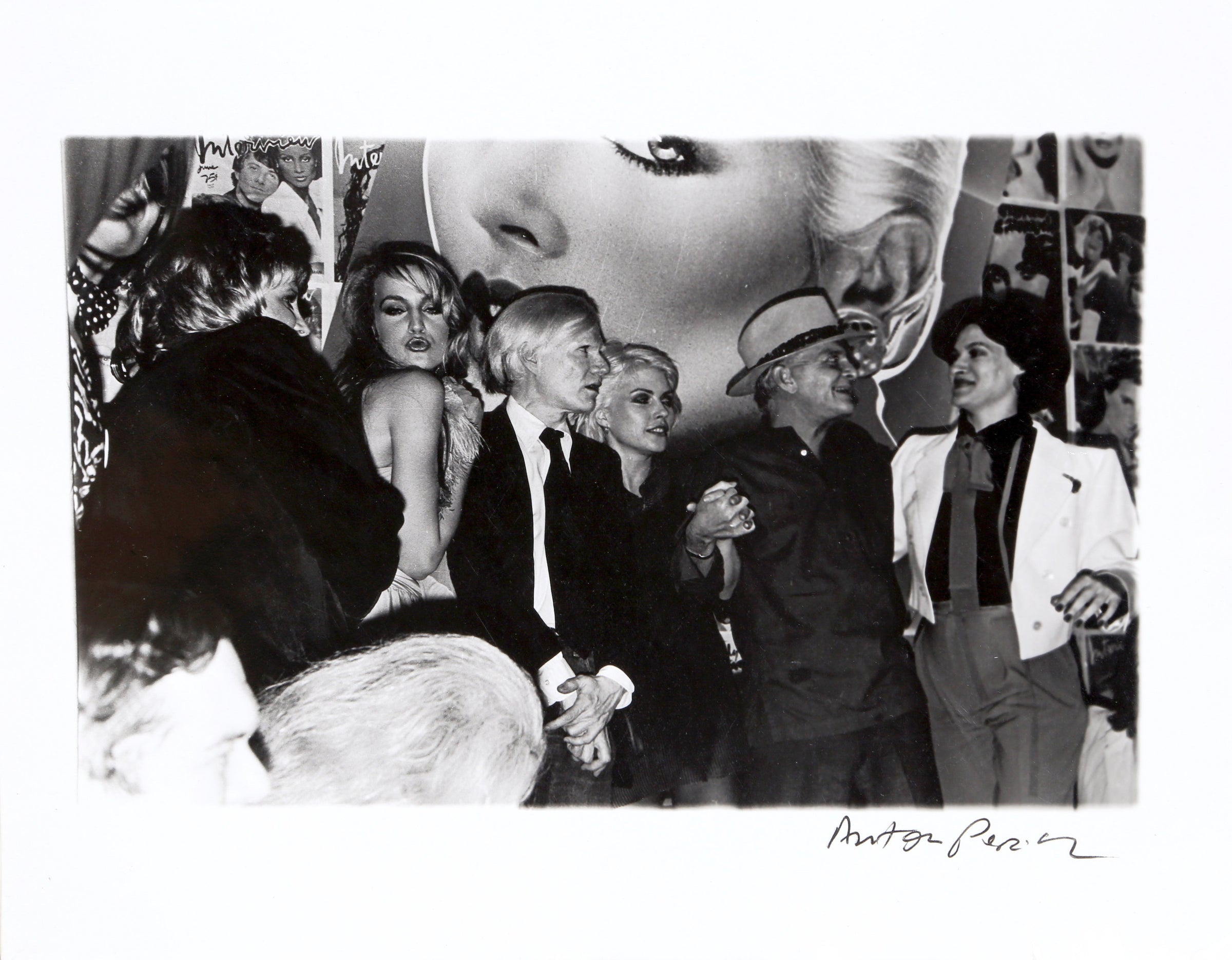 Anton Perich, Interview Magazine Party: Andy Warhol, Jerry Hall, Debbie Harry, Truman Capote, Paloma Picasso Black and White - RoGallery