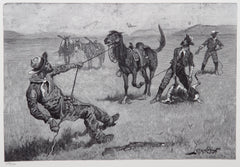 Frederic Remington, Teaching a mustang pony to pack dead game Etching - RoGallery