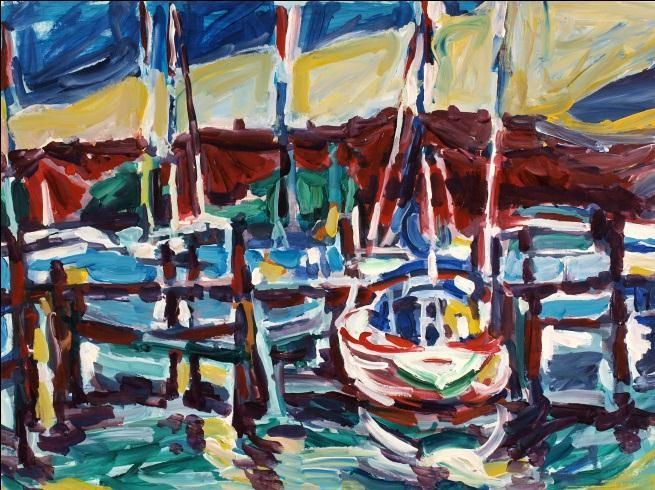 Alfred Sandford, Boats in the Harbor No. 2 Acrylic - RoGallery