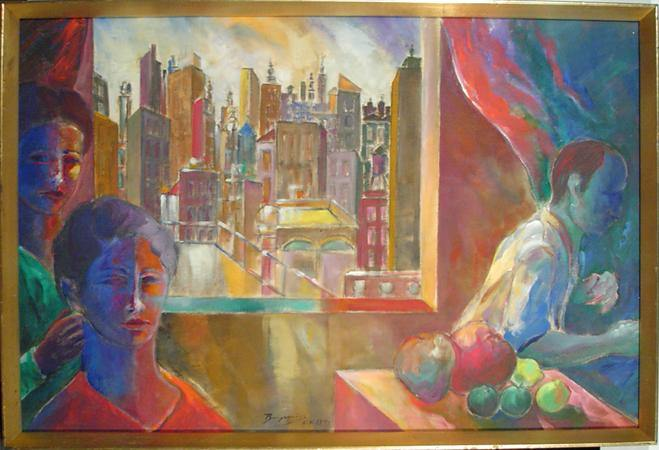 Benjamin Silva, Three Figures and Architectural Acrylic - RoGallery