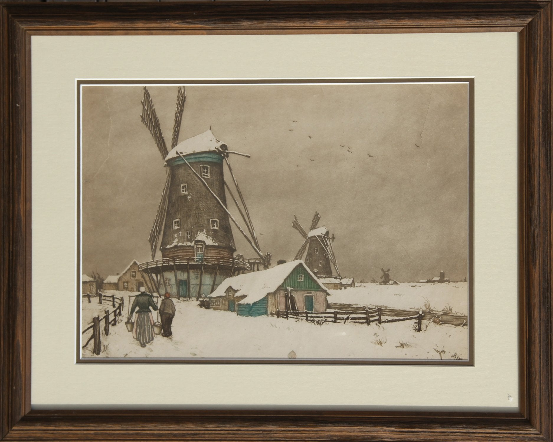 Tavik František Šimon, Dutch Landscape with Windmills, Winter Etching - RoGallery