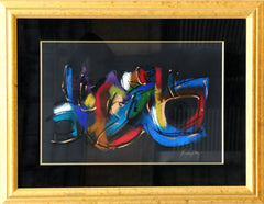 Brenda Singletary, Colorful Abstract on Black Pastel - RoGallery