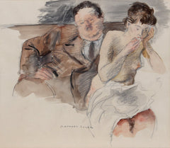 Raphael Soyer, One for the Money (Arnold and Christine) Watercolor - RoGallery