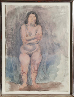 Raphael Soyer, Standing Nude with Folded Arms Watercolor - RoGallery